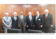 Left to right- Danny Ghorbani, James Shea Jr., HUD Secretary Dr. Benjamin Carson, Michael Cappaert, Mark Weiss, John Bostick-C