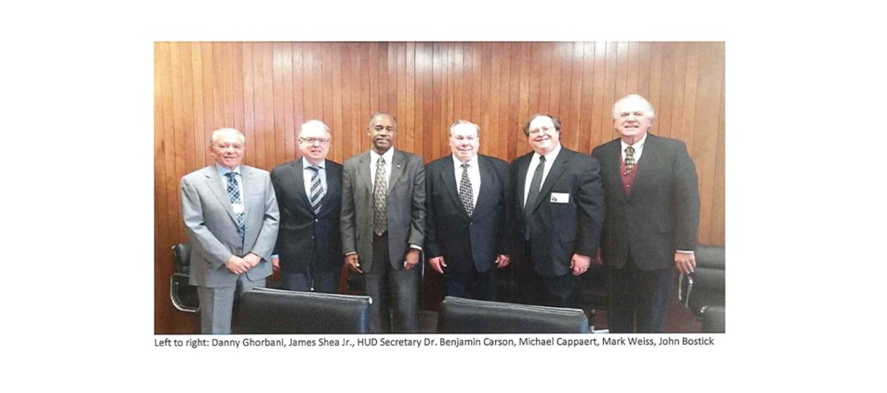 Left to right- Danny Ghorbani, James Shea Jr., HUD Secretary Dr. Benjamin Carson, Michael Cappaert, Mark Weiss, John Bostick-C