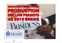 ManufacturedHomeProductionDeclinePersistesJan2019ManufacturedHousingAssociationRegulatoryReformMHARRLogo