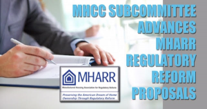 MHCCSubcommitteeAdvancesMHARRRegulatoryReformProposalsManufacturedHousingAssocRegulatoryReformLogoSB