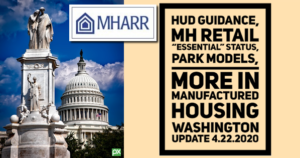 "HUD Guidance, MH Retail ""Essential"" Status, Park Models, More in Manufactured Housing Washington Update 4.22.2020"