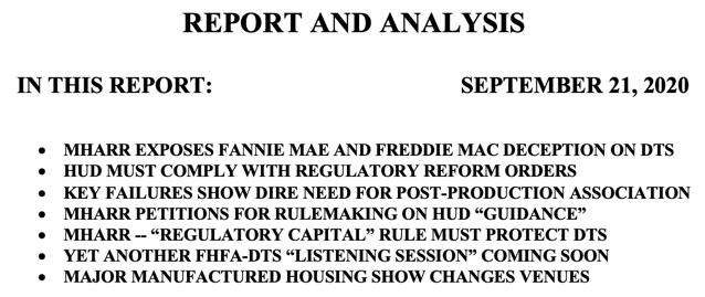 REPORT AND ANALYSIS IN THIS REPORT- SEPTEMBER 21, 2020