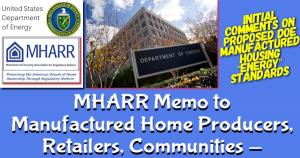 MHARRmemoManufacturedHousingProducersRetailersCommunitiesDepartmentOfEnergy